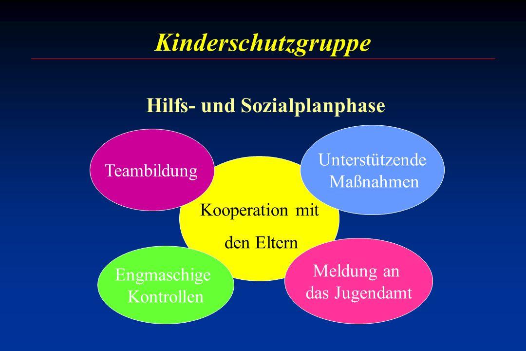 Kinderschutzgruppe Kooperation mit den Eltern Meldung an das Jugendamt Unterstützende Maßnahmen Engmaschige Kontrollen Teambildung Hilfs- und Sozialpl