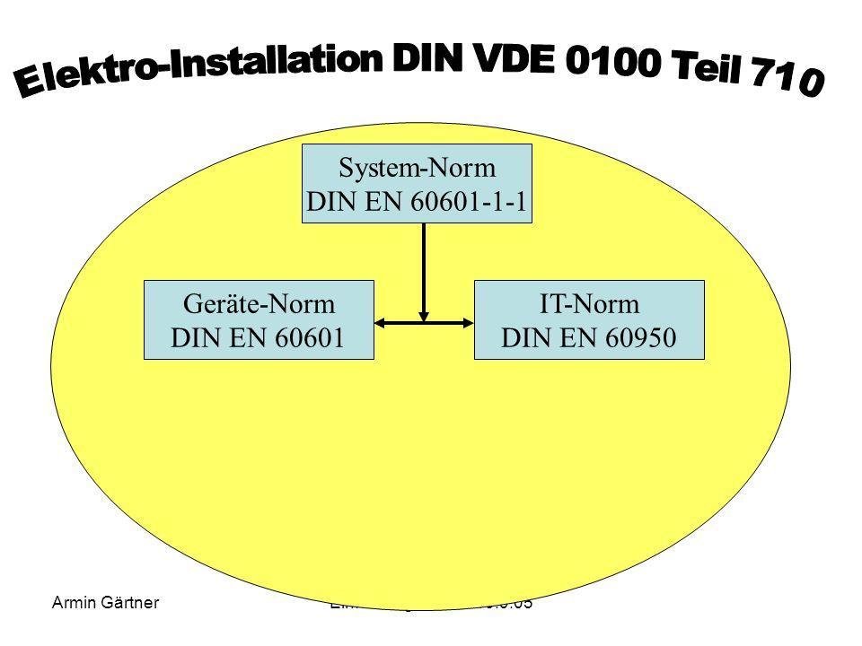 Armin GärtnerEinführungseminar 13.9.05 TN-S System PEL1 L2 L3 Etage 2 Etage 1 N TN-C System PEN L1 L2 L3 Etage 2 Etage 1 Vergleich TN-C und TN-S Syste
