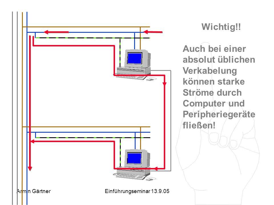 Armin GärtnerEinführungseminar 13.9.05 einerseits weiter über den Neutralleiter andererseits über Erdleiter, Computer, Netzwerkleitungen, und weitere