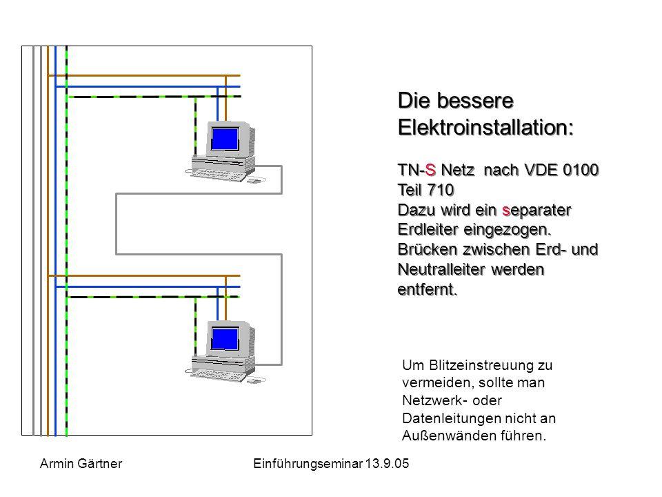 Armin GärtnerEinführungseminar 13.9.05 Noch schlimmere Ausmaße nehmen die Schäden an, wenn es zu einer Unterbrechung des Neutralleiters kommt. Jetzt f