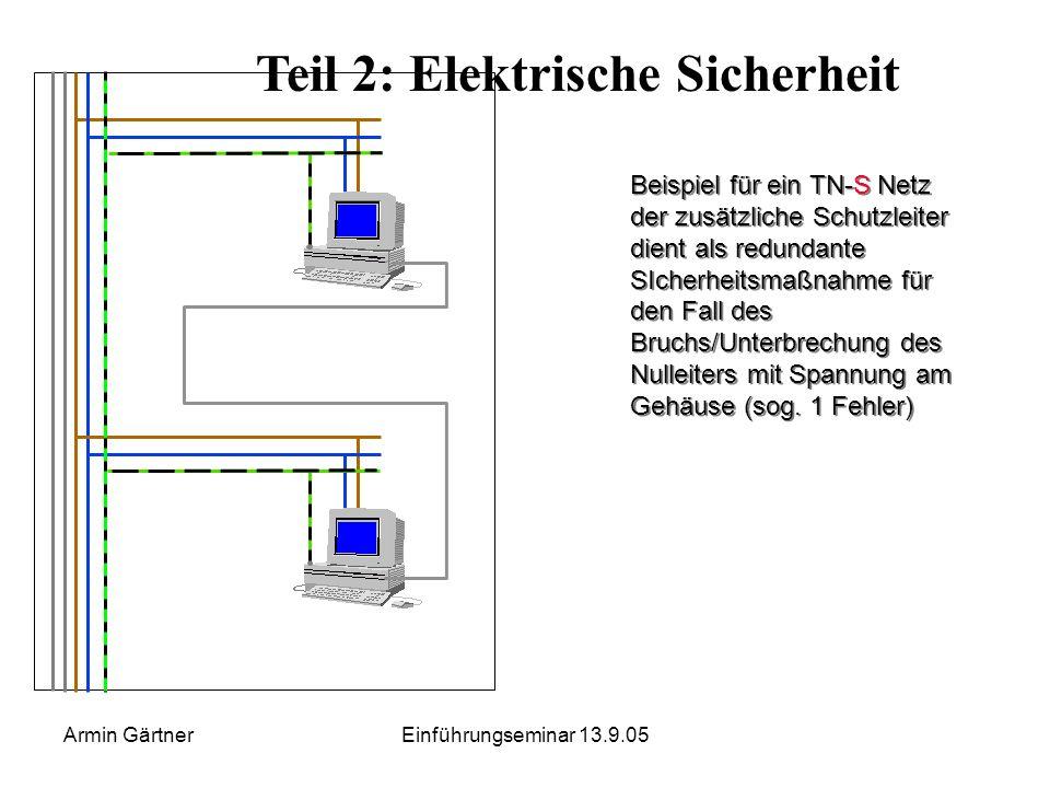 Armin GärtnerEinführungseminar 13.9.05 Teil 2: Netzversorgung und Erdungs- verhältnisse in med. genutzten Räumen Einsatz von TN-S Netzen in Räumen der