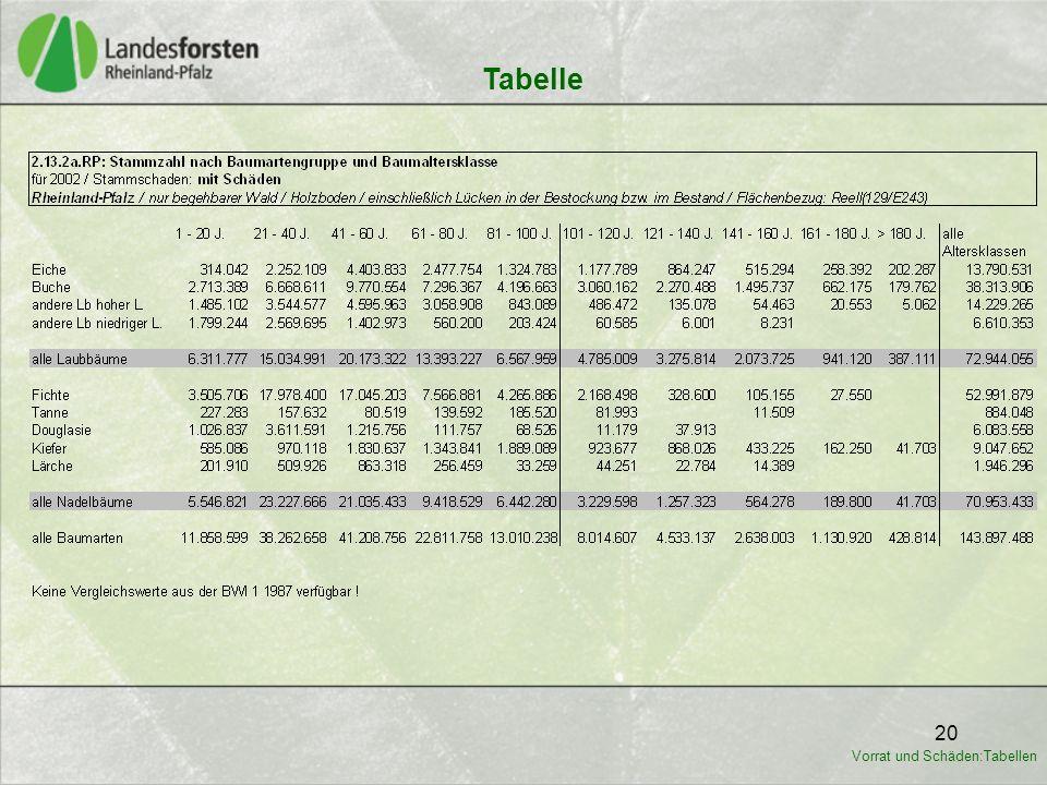 20 Tabelle Vorrat und Schäden:Tabellen