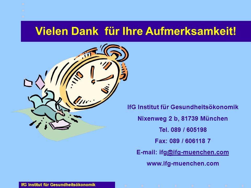 Vielen Dank für Ihre Aufmerksamkeit! IfG Institut für Gesundheitsökonomik Nixenweg 2 b, 81739 München Tel. 089 / 605198 Fax: 089 / 606118 7 E-mail: if