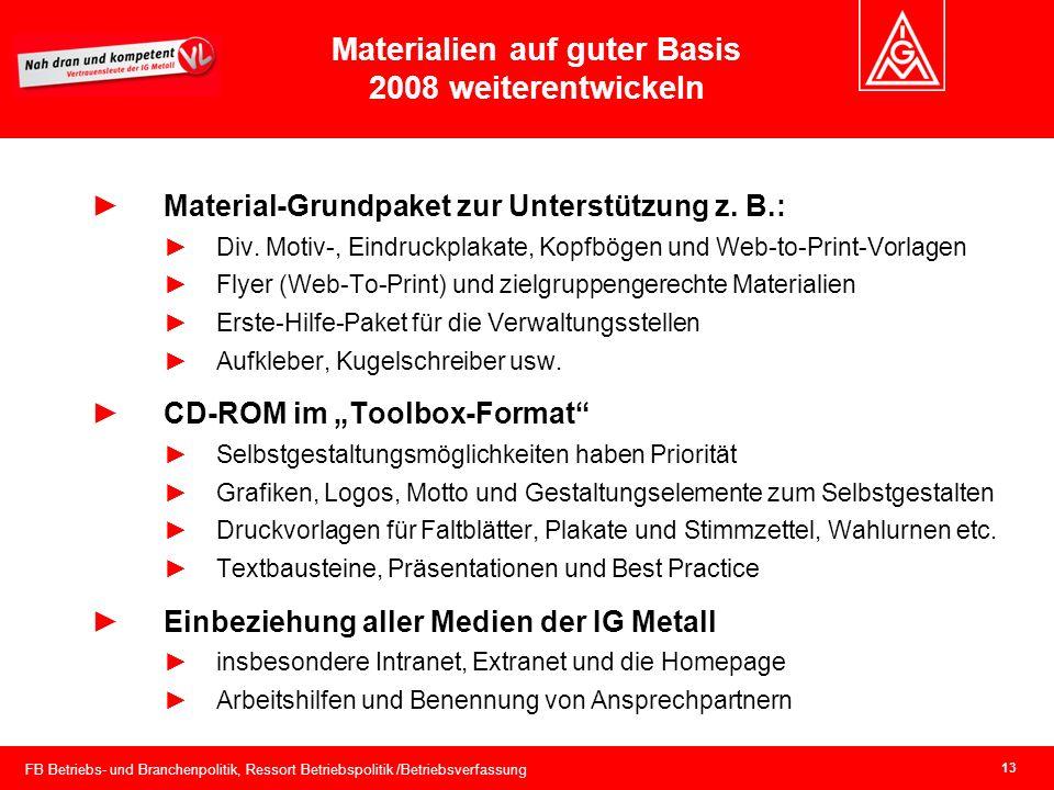 FB Betriebs- und Branchenpolitik, Ressort Betriebspolitik /Betriebsverfassung 13 Materialien auf guter Basis 2008 weiterentwickeln Material-Grundpaket