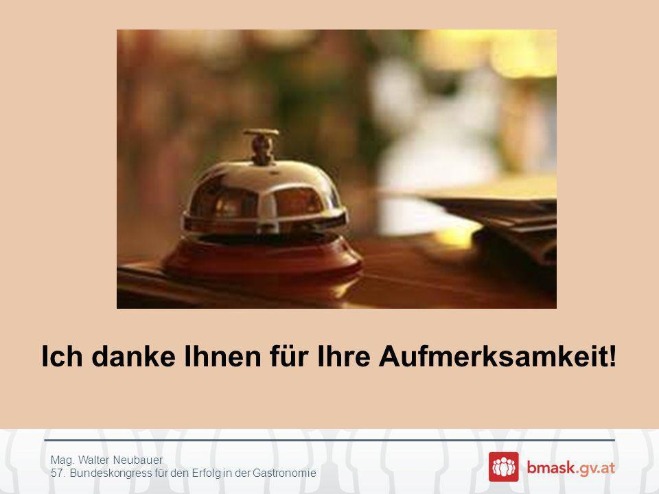 Ich danke Ihnen für Ihre Aufmerksamkeit! Mag. Walter Neubauer 57. Bundeskongress für den Erfolg in der Gastronomie