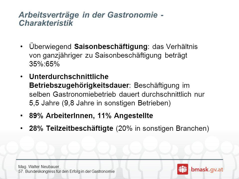 Mag. Walter Neubauer 57. Bundeskongress für den Erfolg in der Gastronomie Arbeitsverträge in der Gastronomie - Charakteristik Überwiegend Saisonbeschä