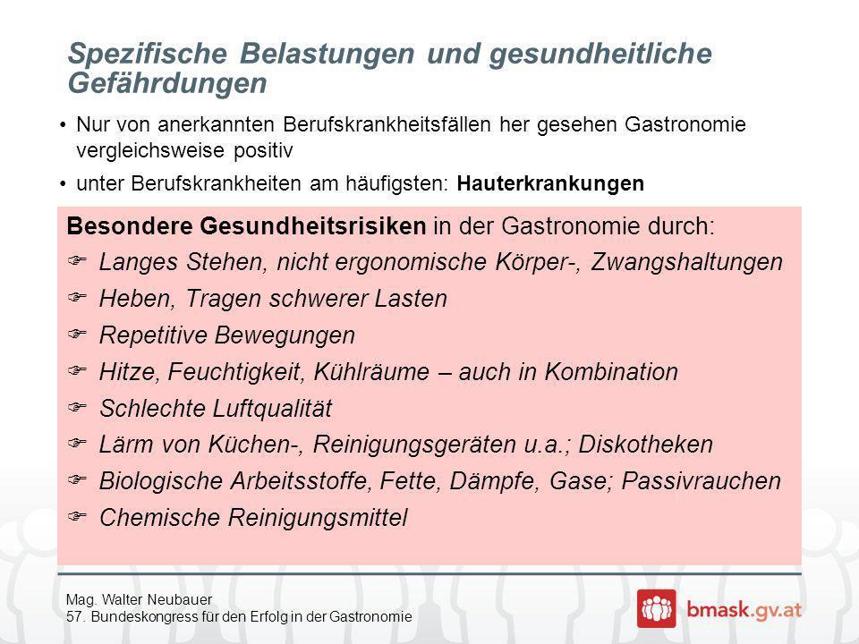 Mag. Walter Neubauer 57. Bundeskongress für den Erfolg in der Gastronomie Spezifische Belastungen und gesundheitliche Gefährdungen Besondere Gesundhei