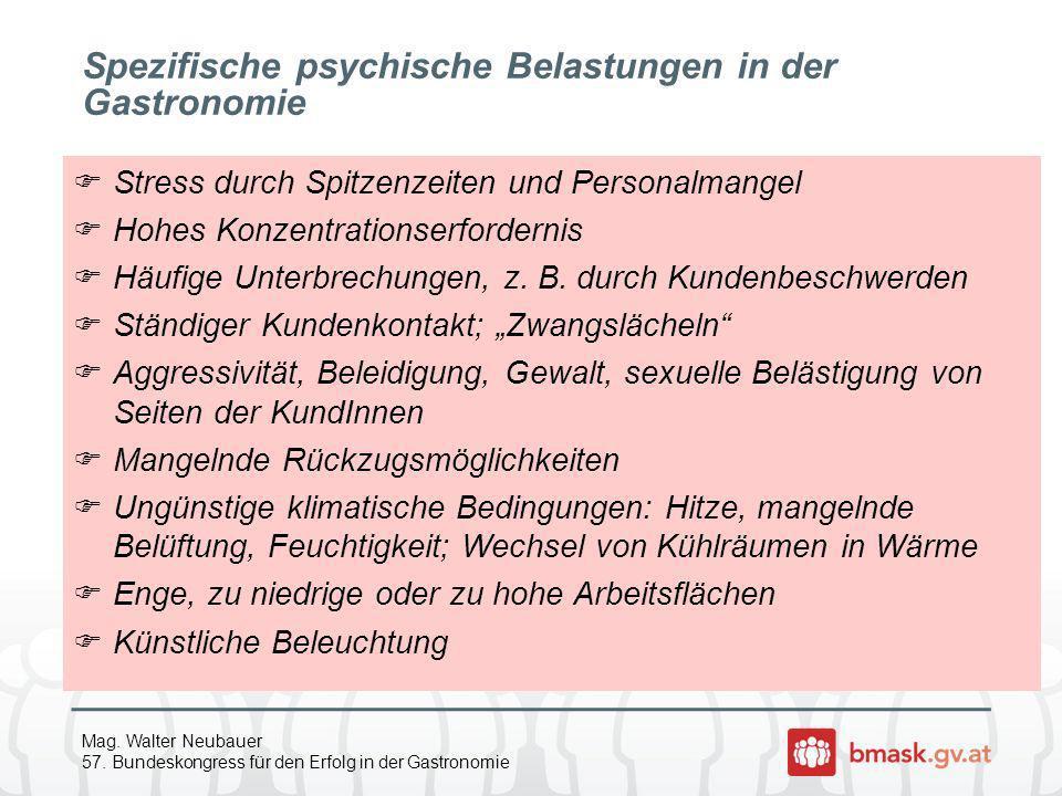Mag. Walter Neubauer 57. Bundeskongress für den Erfolg in der Gastronomie Spezifische psychische Belastungen in der Gastronomie Stress durch Spitzenze