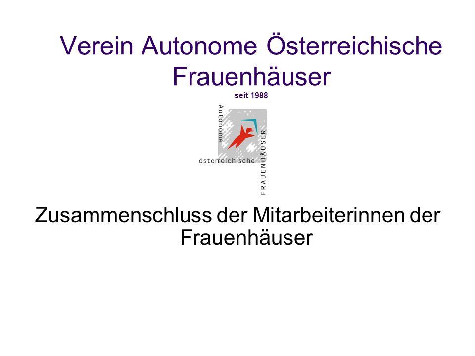 Verein Autonome Österreichische Frauenhäuser seit 1988 Zusammenschluss der Mitarbeiterinnen der Frauenhäuser