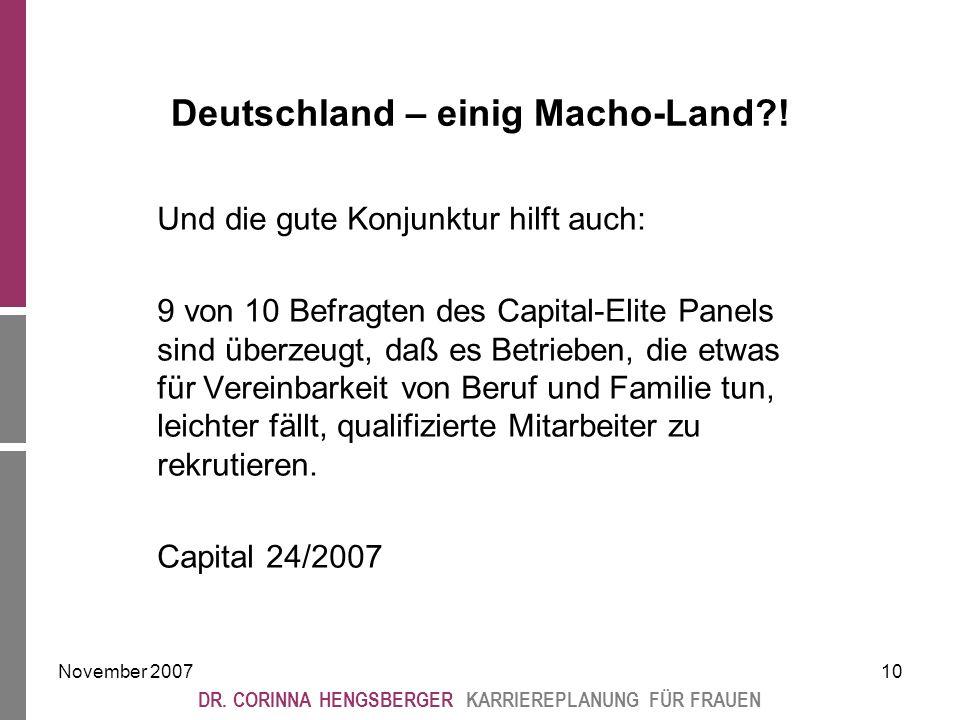 November 200710 DR. CORINNA HENGSBERGER KARRIEREPLANUNG FÜR FRAUEN Deutschland – einig Macho-Land .