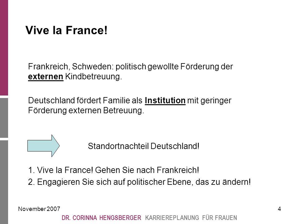 November 20074 DR. CORINNA HENGSBERGER KARRIEREPLANUNG FÜR FRAUEN Vive la France.