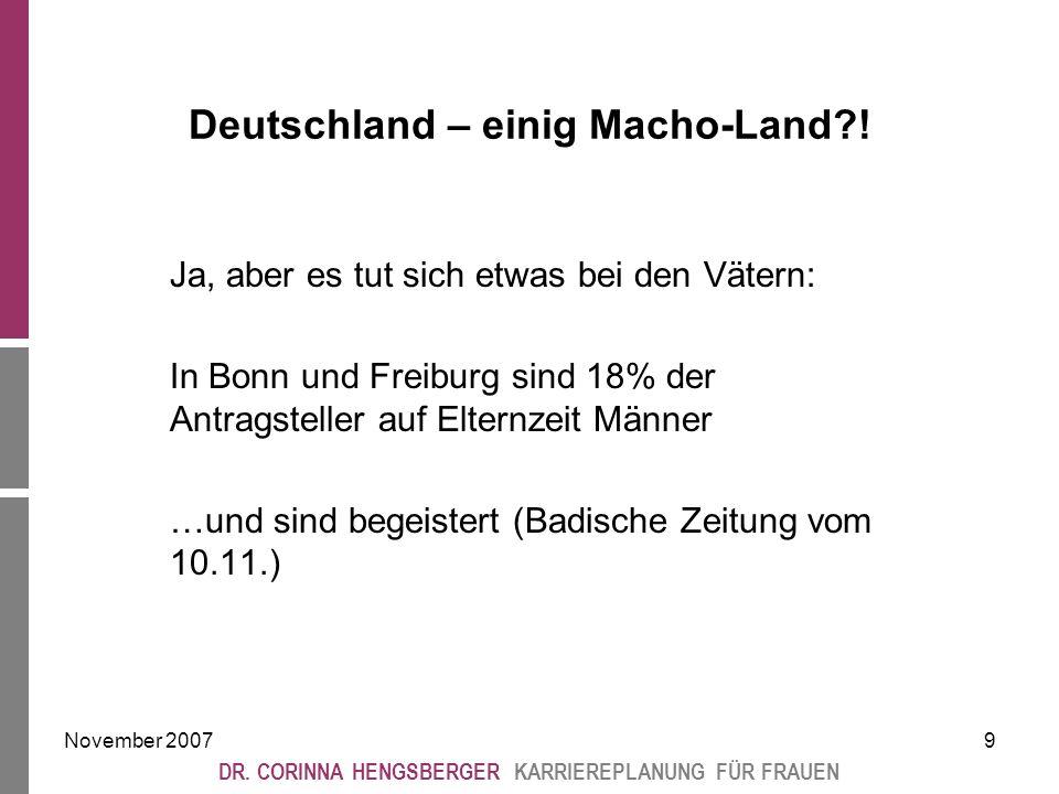 November 20079 DR. CORINNA HENGSBERGER KARRIEREPLANUNG FÜR FRAUEN Deutschland – einig Macho-Land .