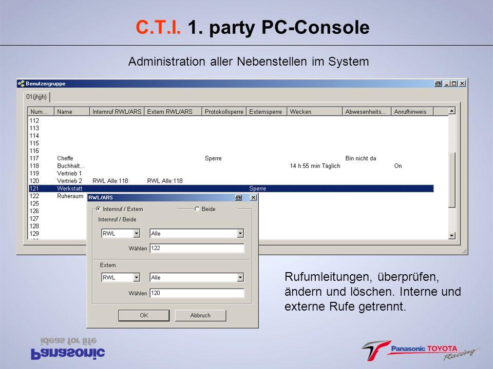 C.T.I. 1. party PC-Console Administration aller Nebenstellen im System Rufumleitungen, überprüfen, ändern und löschen. Interne und externe Rufe getren