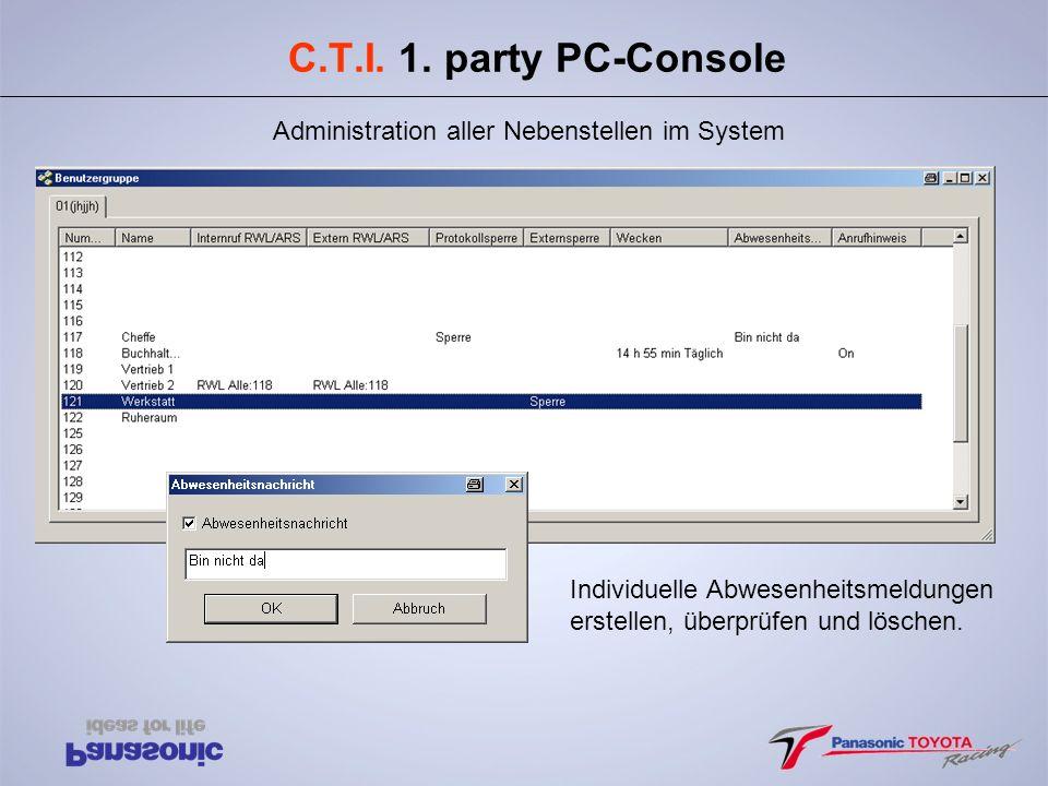 C.T.I. 1. party PC-Console Administration aller Nebenstellen im System Individuelle Abwesenheitsmeldungen erstellen, überprüfen und löschen.