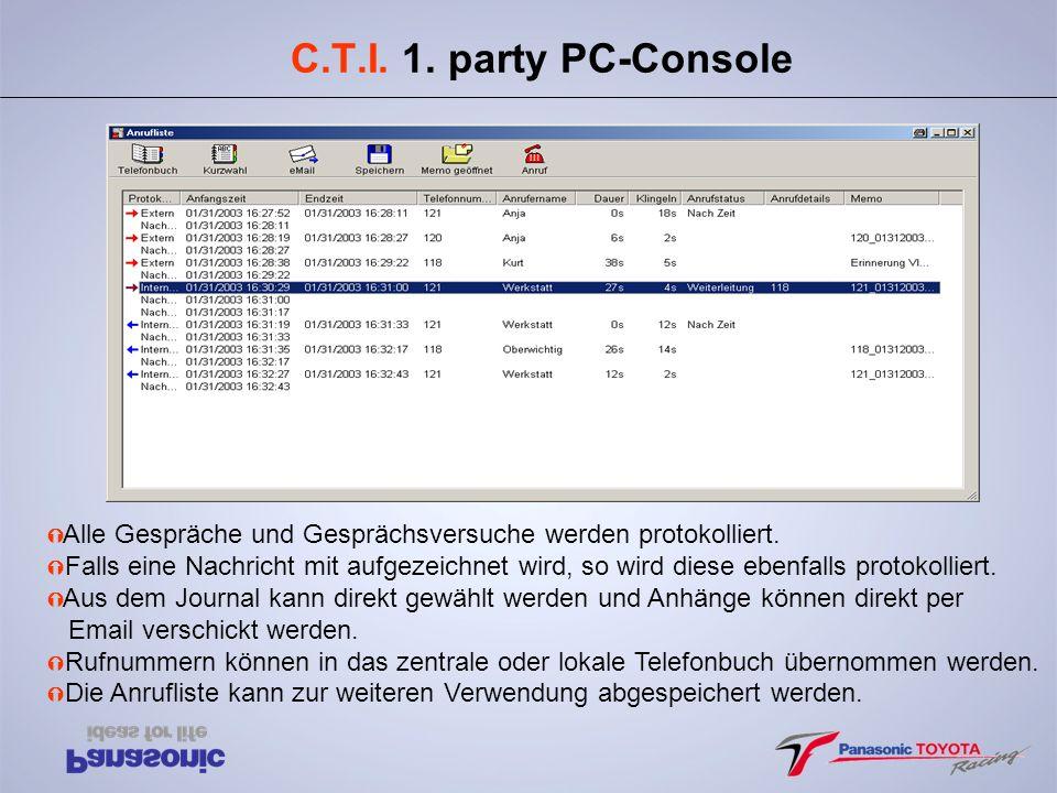 C.T.I. 1. party PC-Console Ý Alle Gespräche und Gesprächsversuche werden protokolliert. Ý Falls eine Nachricht mit aufgezeichnet wird, so wird diese e