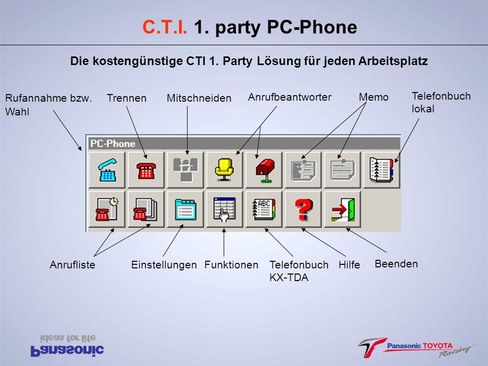 C.T.I. 1. party PC-Phone Die kostengünstige CTI 1. Party Lösung für jeden Arbeitsplatz Rufannahme bzw. Wahl TrennenMitschneiden AnrufbeantworterMemo T
