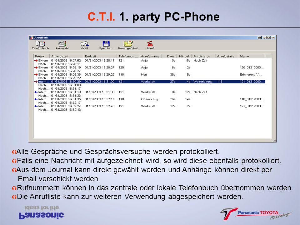 C.T.I. 1. party PC-Phone Ý Alle Gespräche und Gesprächsversuche werden protokolliert. Ý Falls eine Nachricht mit aufgezeichnet wird, so wird diese ebe