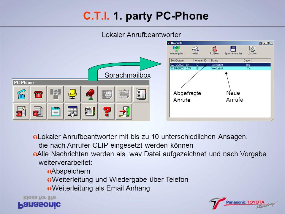 C.T.I. 1. party PC-Phone Lokaler Anrufbeantworter Abgefragte Anrufe Neue Anrufe Sprachmailbox Ý Lokaler Anrufbeantworter mit bis zu 10 unterschiedlich