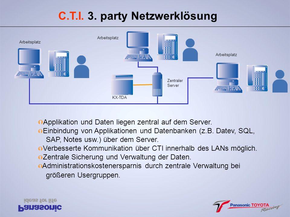 C.T.I. 3. party Netzwerklösung Ý Applikation und Daten liegen zentral auf dem Server. Ý Einbindung von Applikationen und Datenbanken (z.B. Datev, SQL,