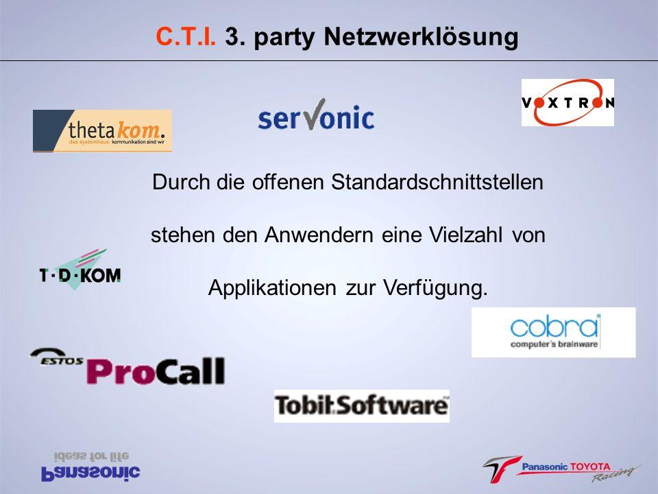 C.T.I. 3. party Netzwerklösung Durch die offenen Standardschnittstellen stehen den Anwendern eine Vielzahl von Applikationen zur Verfügung.