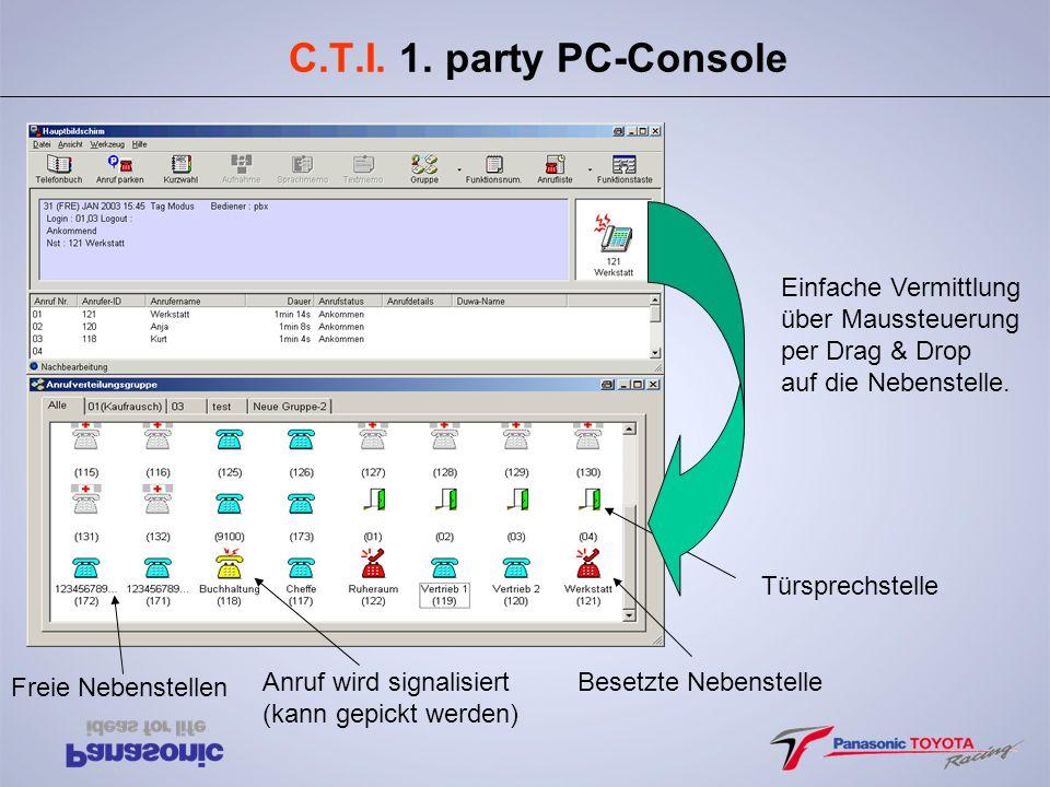C.T.I. 1. party PC-Console Einfache Vermittlung über Maussteuerung per Drag & Drop auf die Nebenstelle. Freie Nebenstellen Anruf wird signalisiert (ka