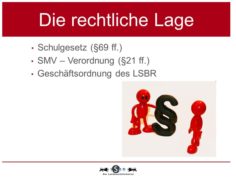 SMV – Verordnung (§21 ff.) Geschäftsordnung des LSBR Schulgesetz (§69 ff.) Die rechtliche Lage