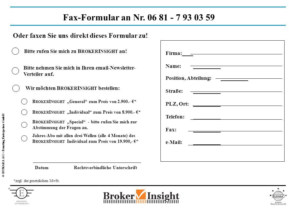 © EUMARA AG + Ernsting Enterprises GmbH Fax-Formular an Nr.