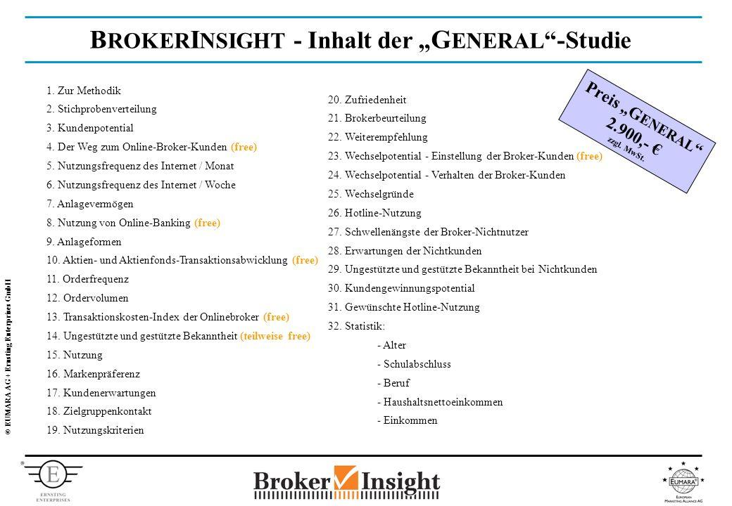 © EUMARA AG + Ernsting Enterprises GmbH B ROKER I NSIGHT - Inhalt der G ENERAL -Studie 1.