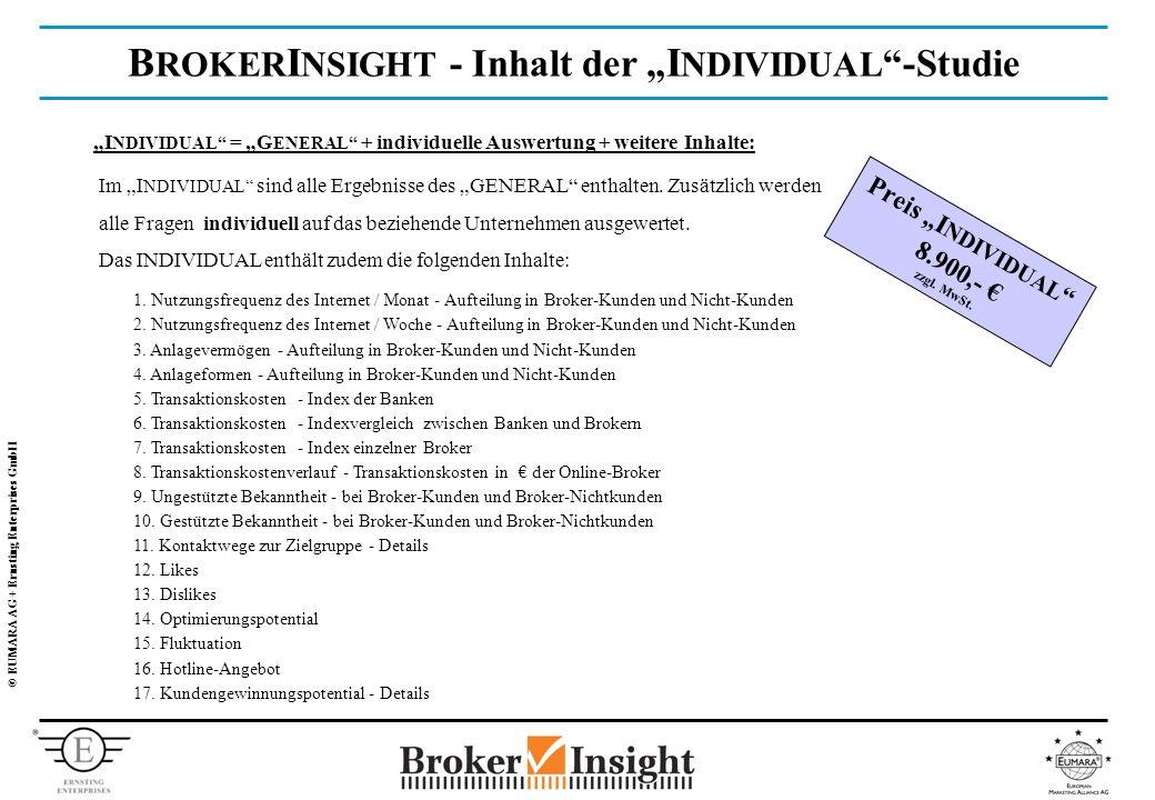 © EUMARA AG + Ernsting Enterprises GmbH B ROKER I NSIGHT - Inhalt der I NDIVIDUAL -Studie I NDIVIDUAL = G ENERAL + individuelle Auswertung + weitere Inhalte: 1.