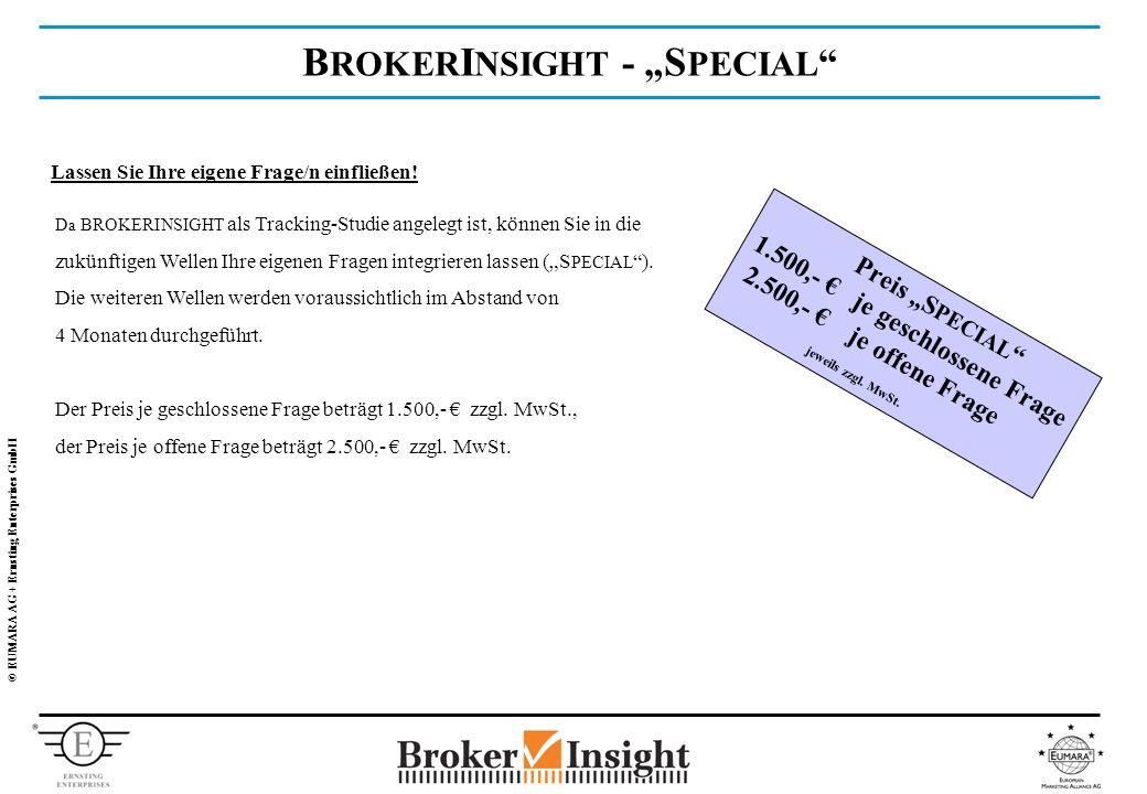 © EUMARA AG + Ernsting Enterprises GmbH B ROKER I NSIGHT - S PECIAL Lassen Sie Ihre eigene Frage/n einfließen.