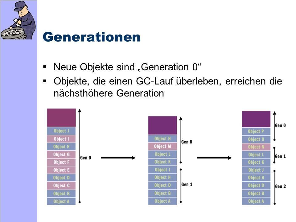 Generationen: Performance GC kann Freigabe auf Generation 0 beschränken -Da neuere Objekte meist kurze Lebensdauer haben, wird in Gen.