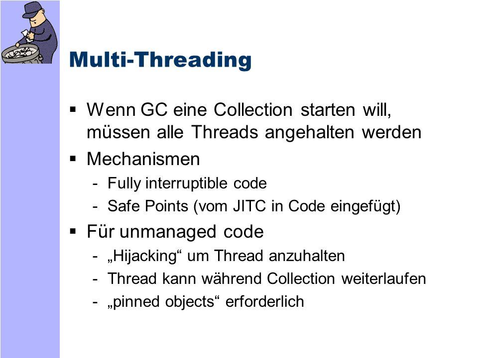 Finalization Ressourcen müssen freigegeben werden -GC vergibt Speicher, gibt ihn wieder frei -aber nicht möglich für unbekannte Ressourcen Netzwerkverbindungen Dateihandles Datenbanken, etc.