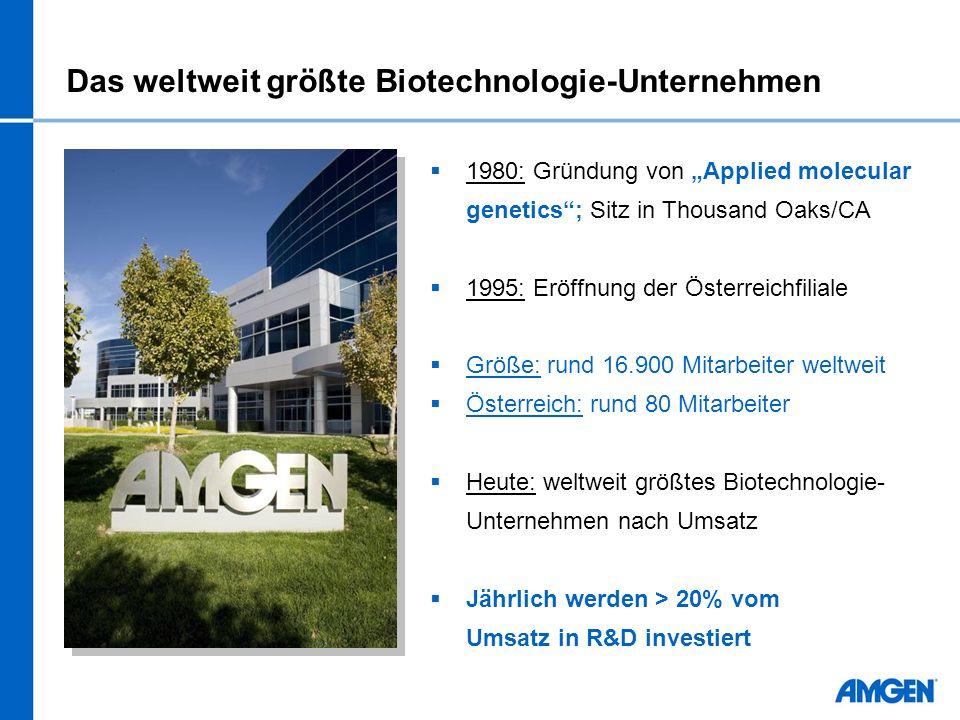 Das weltweit größte Biotechnologie-Unternehmen 1980: Gründung von Applied molecular genetics; Sitz in Thousand Oaks/CA 1995: Eröffnung der Österreichf