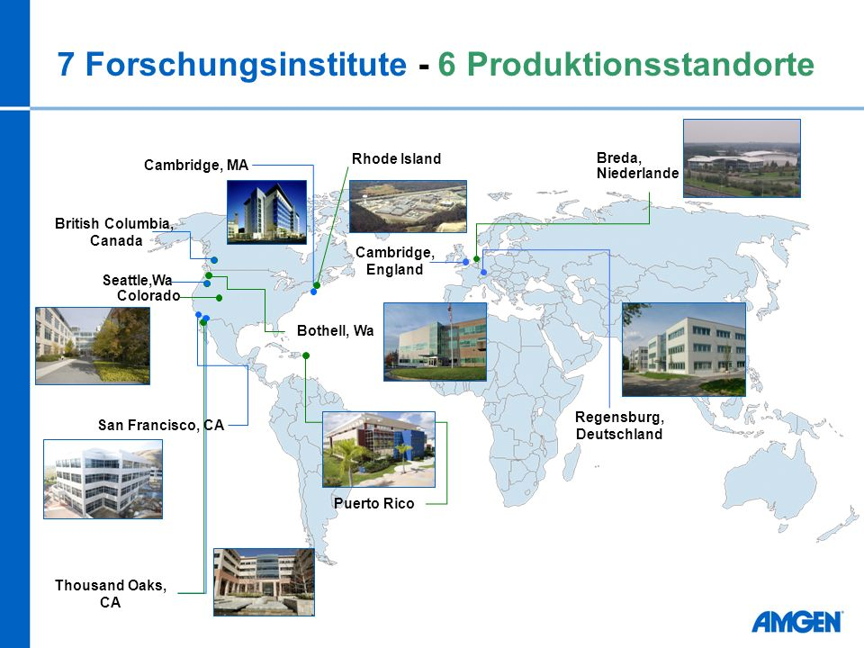 7 Forschungsinstitute - 6 Produktionsstandorte Cambridge, MA Thousand Oaks, CA Cambridge, England Regensburg, Deutschland Rhode Island Puerto Rico Col