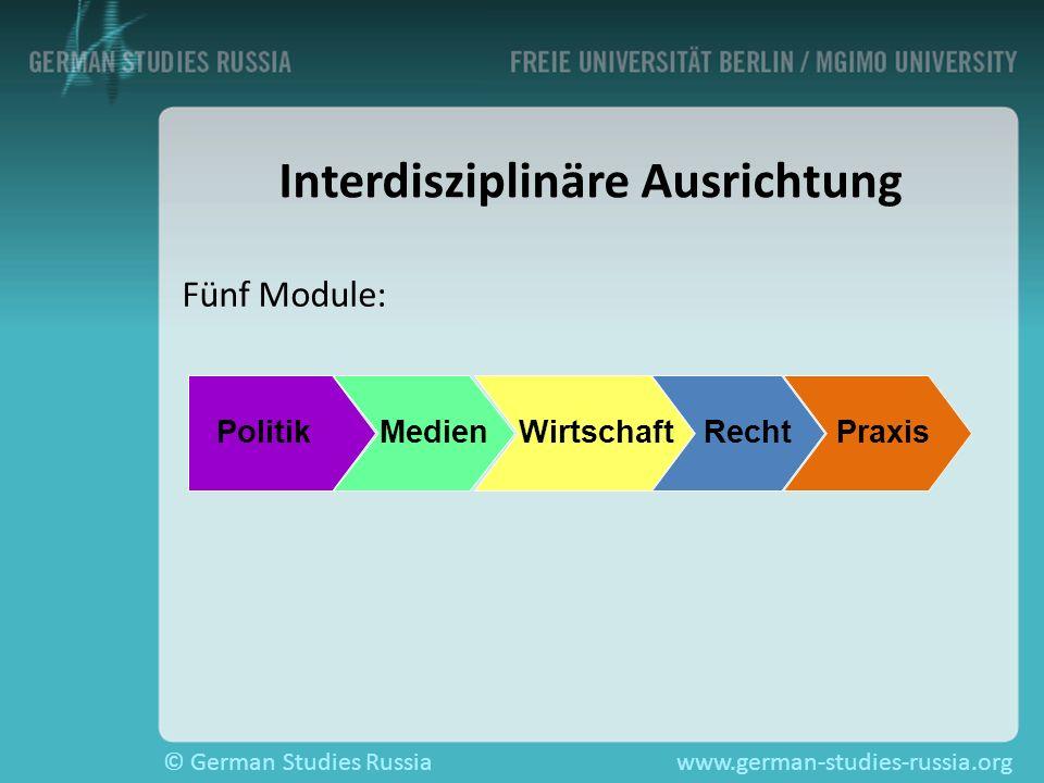 © German Studies Russiawww.german-studies-russia.org Interdisziplinäre Ausrichtung Fünf Module: Politik Medien Wirtschaft Recht Praxis