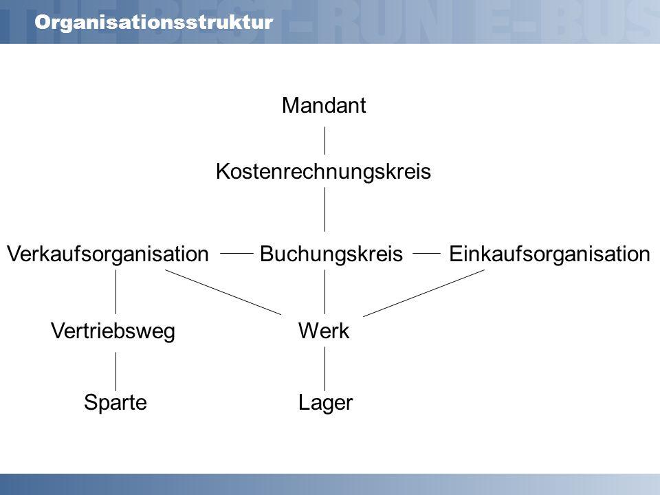 Organisationsstruktur Mandant Kostenrechnungskreis BuchungskreisVerkaufsorganisationEinkaufsorganisation WerkVertriebsweg SparteLager
