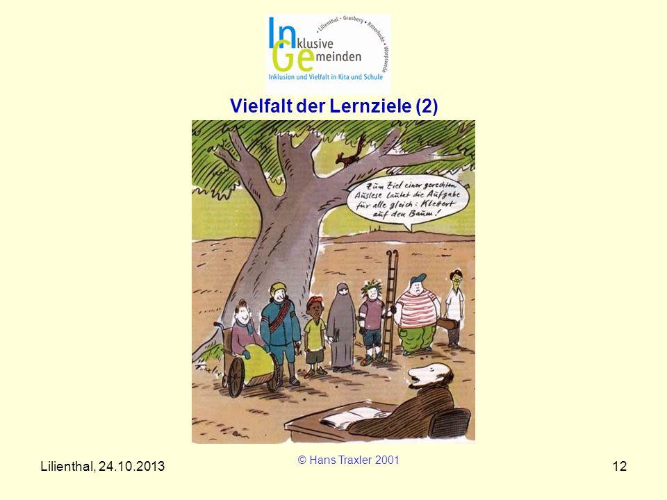Lilienthal, 24.10.201312 Vielfalt der Lernziele (2) © Hans Traxler 2001