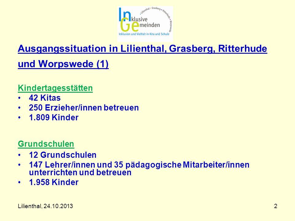Lilienthal, 24.10.20132 Ausgangssituation in Lilienthal, Grasberg, Ritterhude und Worpswede (1) Kindertagesstätten 42 Kitas 250 Erzieher/innen betreue
