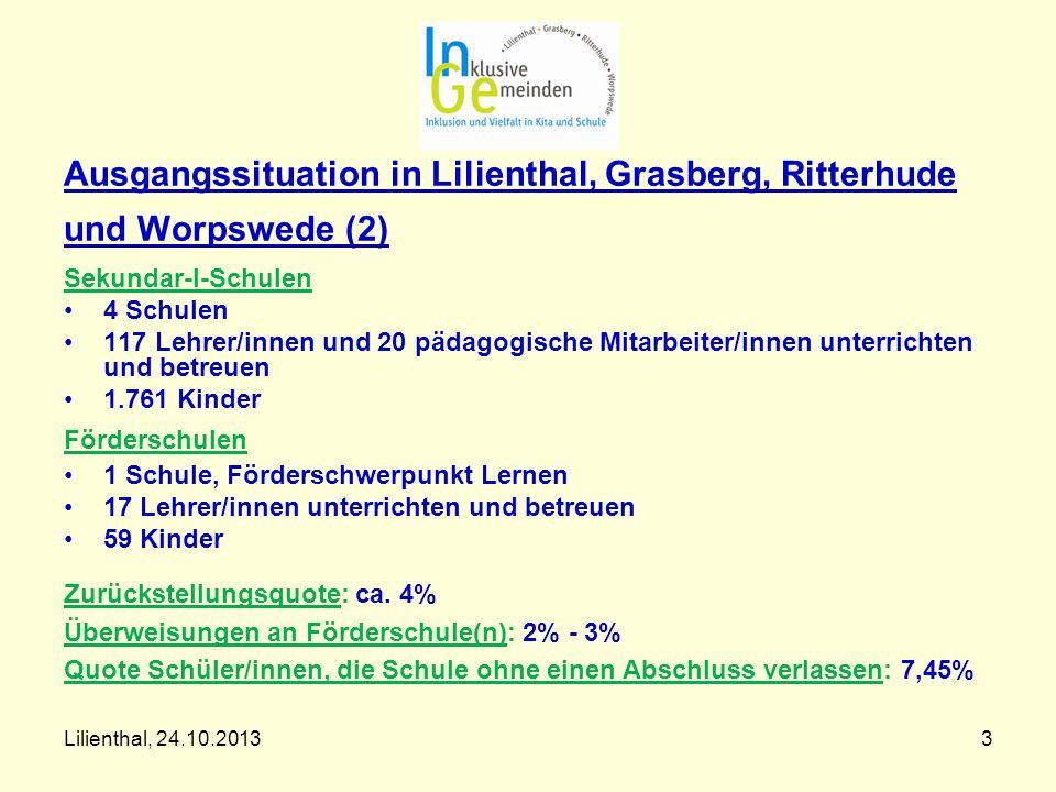 Lilienthal, 24.10.20133 Ausgangssituation in Lilienthal, Grasberg, Ritterhude und Worpswede (2) Sekundar-I-Schulen 4 Schulen 117 Lehrer/innen und 20 p