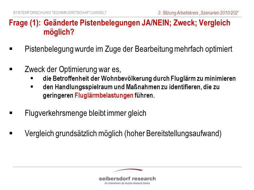 SYSTEMFORSCHUNG TECHNIK-WIRTSCHAFT-UMWELT 3. Sitzung Arbeitskreis Szenarien 2010/202 Frage (1): Geänderte Pistenbelegungen JA/NEIN; Zweck; Vergleich m