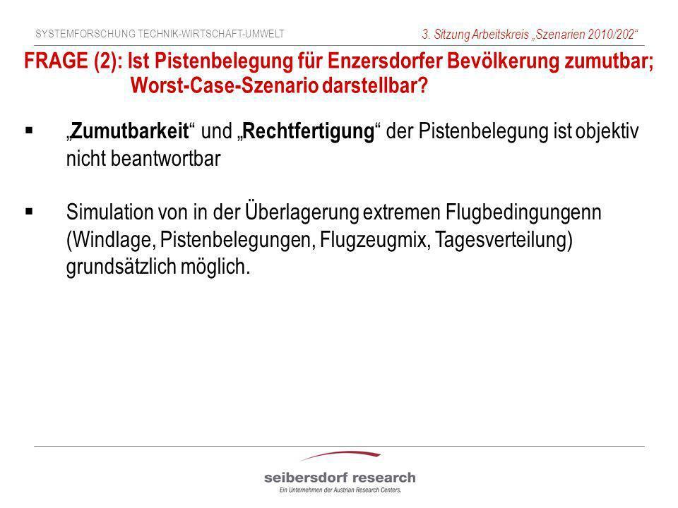 SYSTEMFORSCHUNG TECHNIK-WIRTSCHAFT-UMWELT 3. Sitzung Arbeitskreis Szenarien 2010/202 FRAGE (2): Ist Pistenbelegung für Enzersdorfer Bevölkerung zumutb