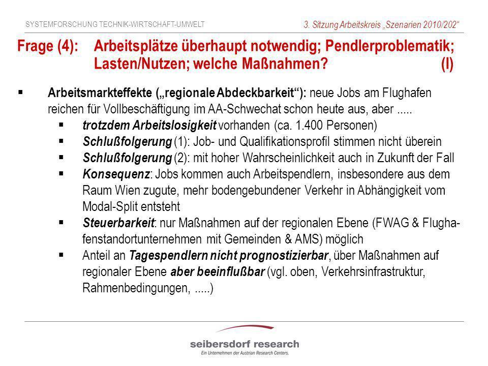 SYSTEMFORSCHUNG TECHNIK-WIRTSCHAFT-UMWELT 3. Sitzung Arbeitskreis Szenarien 2010/202 Frage (4): Arbeitsplätze überhaupt notwendig; Pendlerproblematik;