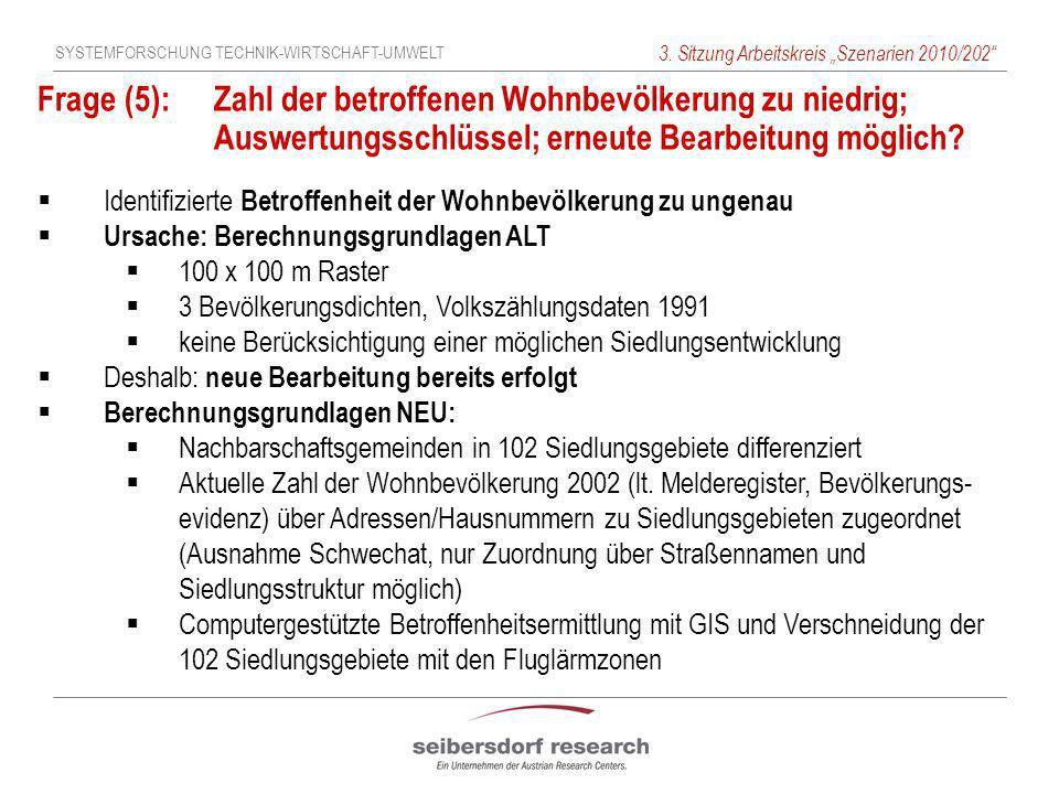 SYSTEMFORSCHUNG TECHNIK-WIRTSCHAFT-UMWELT 3. Sitzung Arbeitskreis Szenarien 2010/202 Frage (5): Zahl der betroffenen Wohnbevölkerung zu niedrig; Auswe