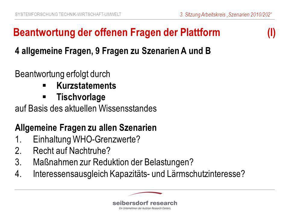 SYSTEMFORSCHUNG TECHNIK-WIRTSCHAFT-UMWELT 3. Sitzung Arbeitskreis Szenarien 2010/202 Beantwortung der offenen Fragen der Plattform (I) 4 allgemeine Fr