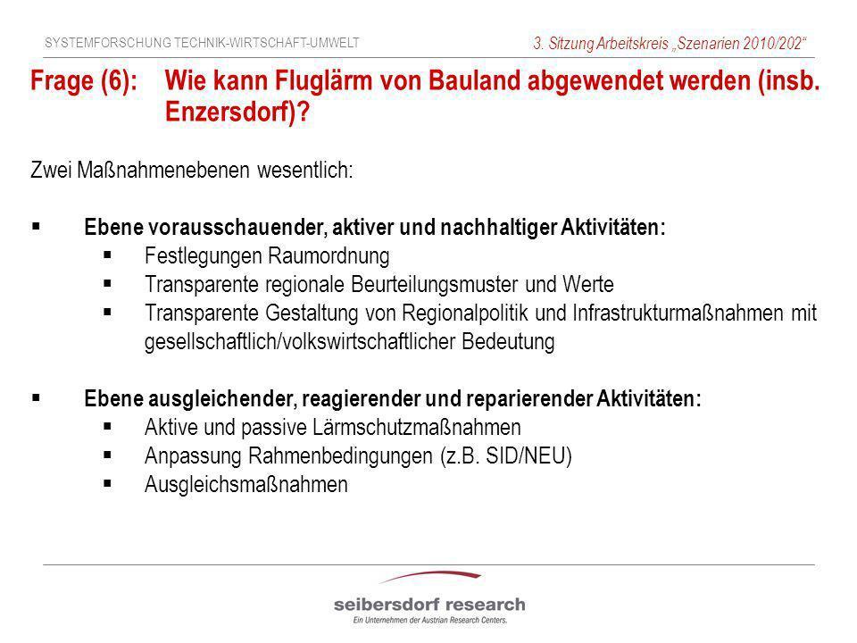 SYSTEMFORSCHUNG TECHNIK-WIRTSCHAFT-UMWELT 3. Sitzung Arbeitskreis Szenarien 2010/202 Frage (6): Wie kann Fluglärm von Bauland abgewendet werden (insb.