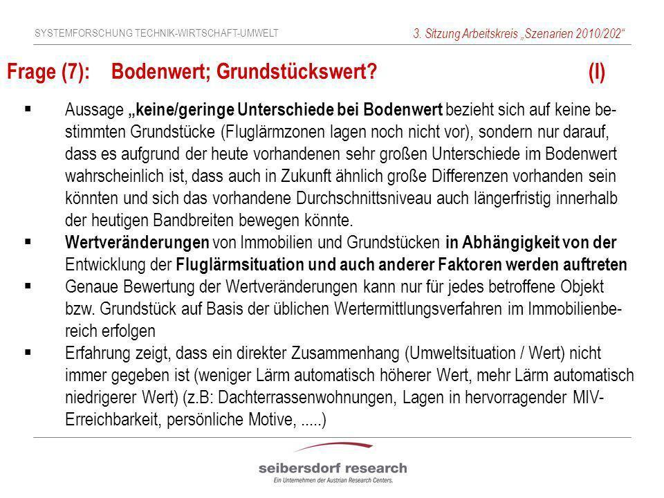SYSTEMFORSCHUNG TECHNIK-WIRTSCHAFT-UMWELT 3. Sitzung Arbeitskreis Szenarien 2010/202 Frage (7): Bodenwert; Grundstückswert? (I) Aussage keine/geringe