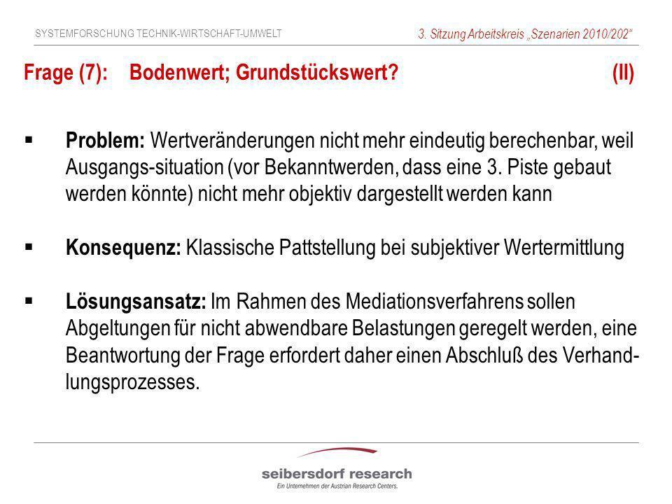 SYSTEMFORSCHUNG TECHNIK-WIRTSCHAFT-UMWELT 3. Sitzung Arbeitskreis Szenarien 2010/202 Frage (7): Bodenwert; Grundstückswert? (II) Problem: Wertveränder