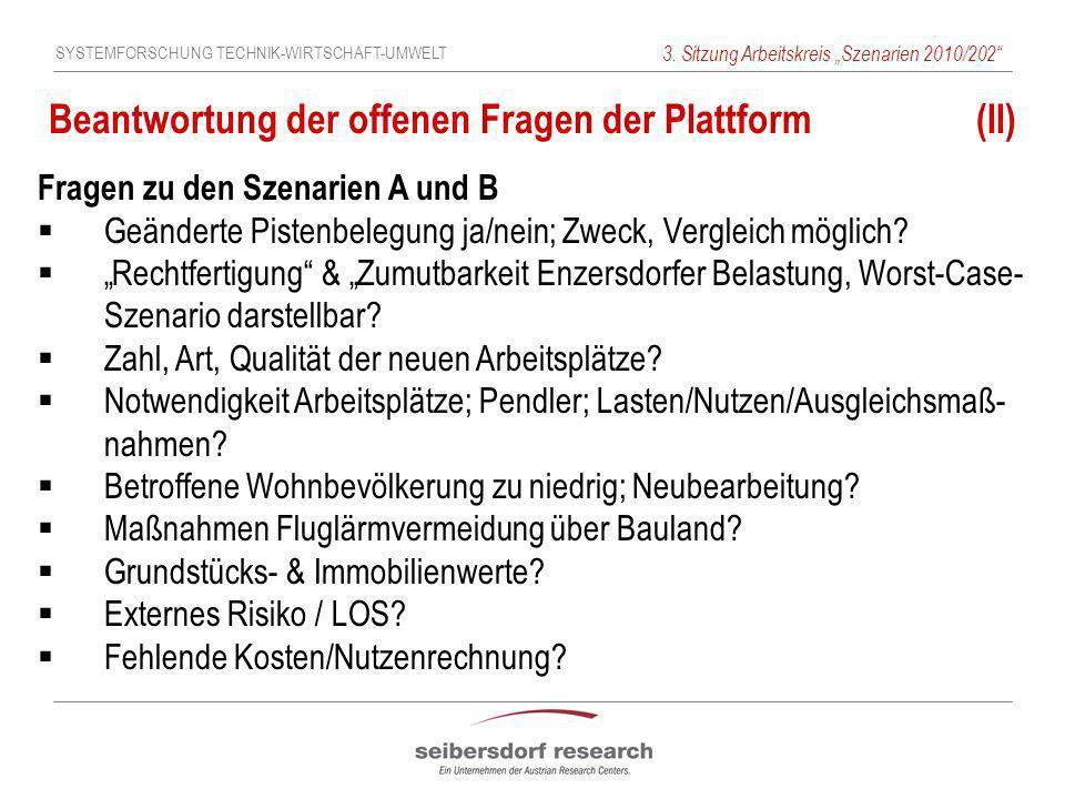 SYSTEMFORSCHUNG TECHNIK-WIRTSCHAFT-UMWELT 3. Sitzung Arbeitskreis Szenarien 2010/202 Beantwortung der offenen Fragen der Plattform (II) Fragen zu den