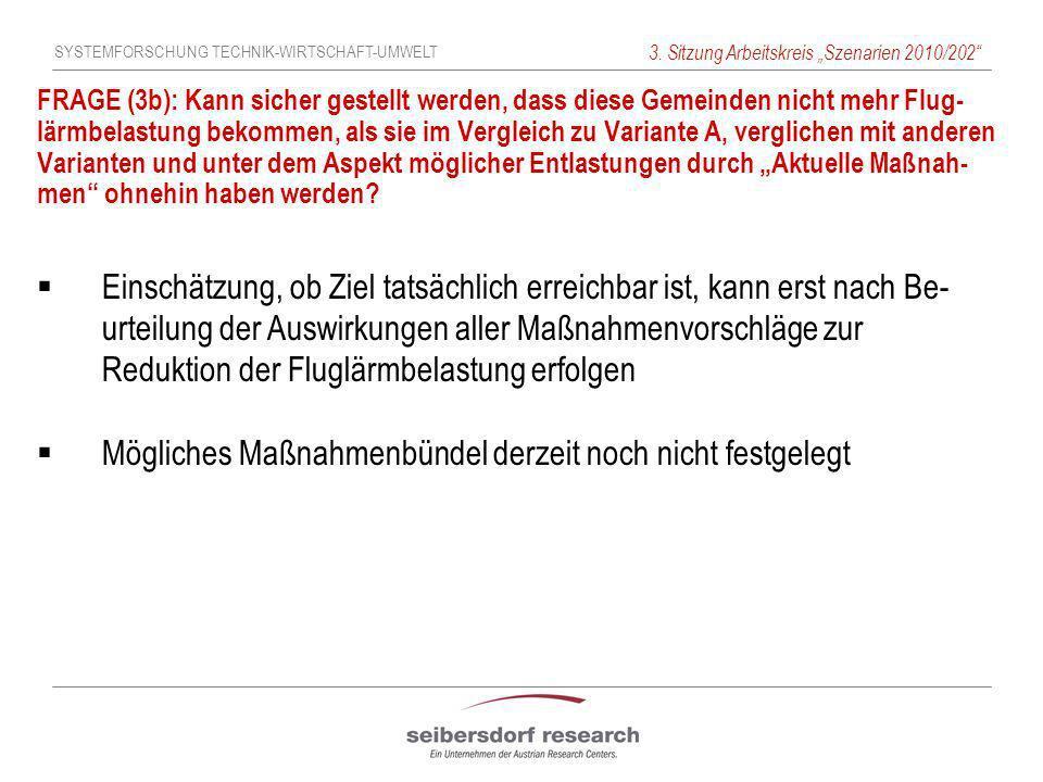 SYSTEMFORSCHUNG TECHNIK-WIRTSCHAFT-UMWELT 3. Sitzung Arbeitskreis Szenarien 2010/202 FRAGE (3b): Kann sicher gestellt werden, dass diese Gemeinden nic