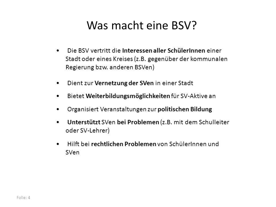 Folie: 4 Was macht eine BSV.